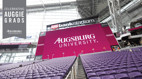 "Zoom background with banner ""Celebrating Auggie Grads Augsburg University"" with photo of US Bank Stadium set up for graduation"