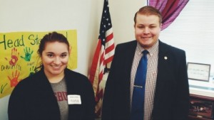 Madison Wedan meets with Representative Drew Christensen to advocate for the Minnesota State Grant.