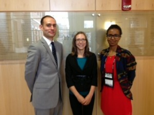 Joel Huting, Brianna Noland and Ugaso SheikAbdi at the National Conference for Undergraduate Research (NCUR 2013) at the University of Wisconsin – LaCrosse.