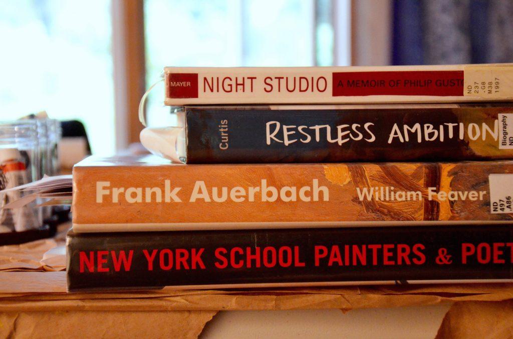 Books in Keren Kroul's studio