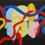 3 faces portrayed like un identifiable masks with red , blue, and yellow ropes going throw them all