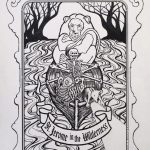 """St. Jerome in the wilderness, 2020, Pen and ink on paper, 17"""" x11"""""""