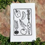"ANI CASSELLIUS Garden | Linoleum block print & ink, 2020, 8.5x5.5"""