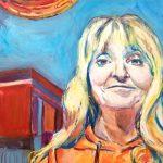 "EMILY DUESING, Momuski | Acrylic on board, 2020, 16""x20"""