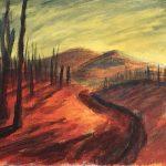 "ALEXANDER MCNEFF, Field, trees, et. | Acrylic paint on canvas, 2021, 9.5""x6.5"""
