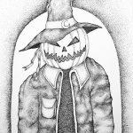 "KAM NEDDERMEYER, Pumpkin Man | Ink on paper, 2020, 11""×14"""