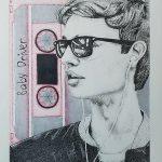 "KAM NEDDERMEYER, Baby Driver- Ansel Elgort | Ink pens & alcohol markers, 2021, 11""×14"""