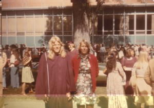 "Marilyn Pearson Florian '76 and Lavonne ""Vonnie"" Pearson '74 at Augsburg's Graduation in 1976"