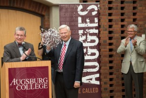 Augsburg President Paul Pribbenow with Regent Norm Hagfors at a May 2015 campaign celebration.