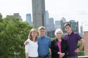 The Evans Family: Joan '83, John '82, Alice and Aren Olson '11