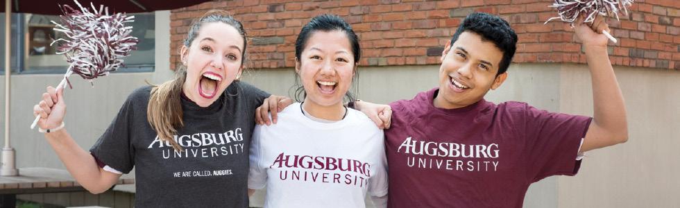 Augsburg students waving pompoms