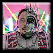 Rory Wakemup. He is wearing his own creations. The photo is split down the middle, on one side we see half of Wakemup's face, and on the other we see a metallic Darth Vader mask adorned with Native American-inspired details