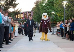 President Pribbenow and Auggie Eagle