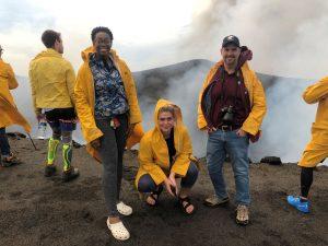 Briana Mitchell '19, Britta Andress '19, and Sociology Professor Tim Pippert in Vanuatu