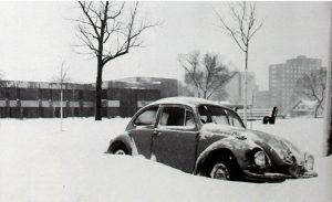 The orange Volkswagen Beetle, owned by Auggie Chuck Rath, snuck into the student center in the spring of 1983.