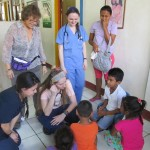 Nurses speak with school children