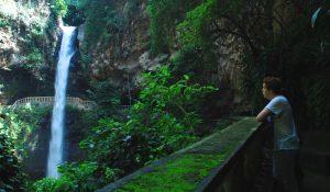 Student looking at waterfalls