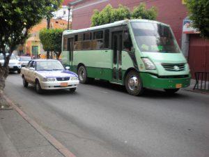 A green bus