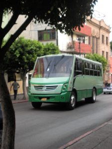 A green bus on the street