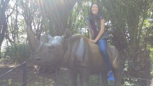 Student on a rhino statue's back