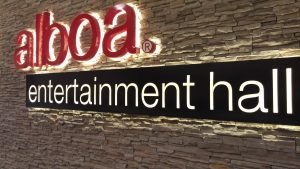 Sign for Alboa entertainment hall