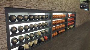 Wall of bowling balls