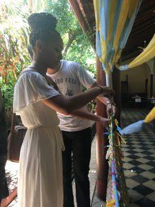 Weaving at Cafe Sonrisas