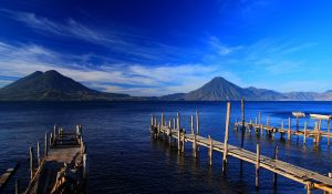 lake with mountain view guatemala