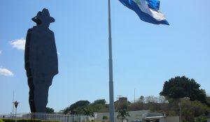 Sandino Statue and Nicaraguan Flag
