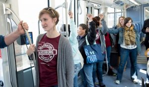 students on light rail