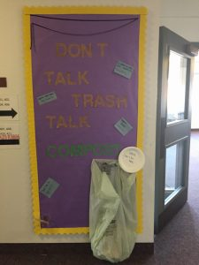 "Compost Board Andreson Hall ""Don't Talk Trash"""