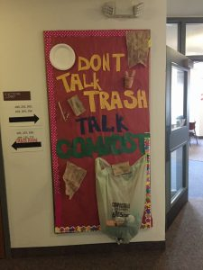 "Compost Board Anderson Hall 3rd Floor ""Don't talk trash"""