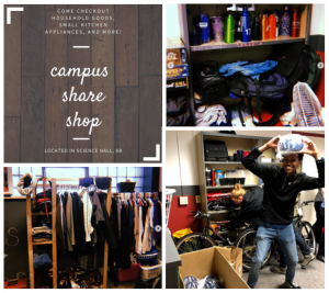 water bottles, clothes, and other items on shelves; student posing with bike hemet; text reads come check out household goods, small kitchen appliances, and more! Campus Share Shop, located in Science Hall 8A and students