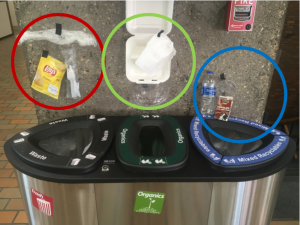 grey trash bin with chip wrapper, plastic utensils, and plastic wrap abbove. Green compost bin with take-out container and clear salad container above. Blue recycle bin with emtpy water bottle, milk carton, and small plastic cup above.