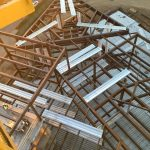 View of chapel structure from tower crane