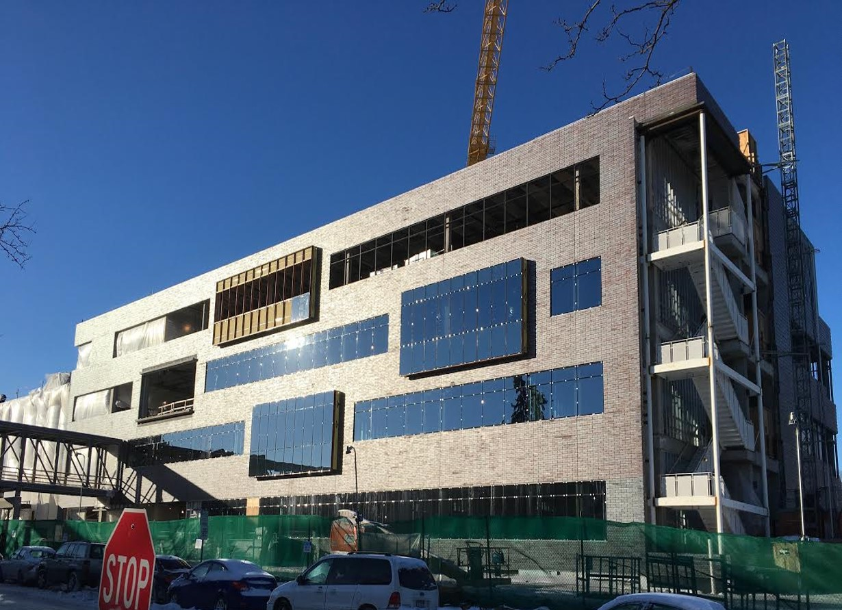 With the installation of the precast exterior, window frames and glass, the east face of the Hagfors Center is looking much like the finished building will look.
