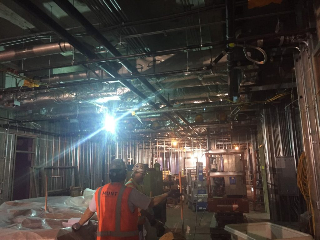Construction crews continue mechanical, electrical, wall framing and drywall installation.