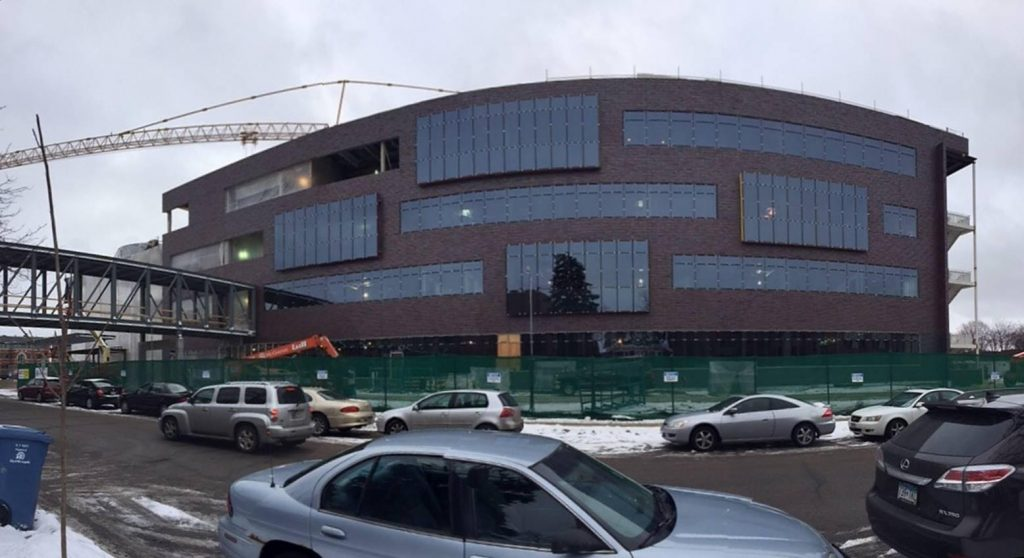 A panoramic view of the Hagfors Center east facade.