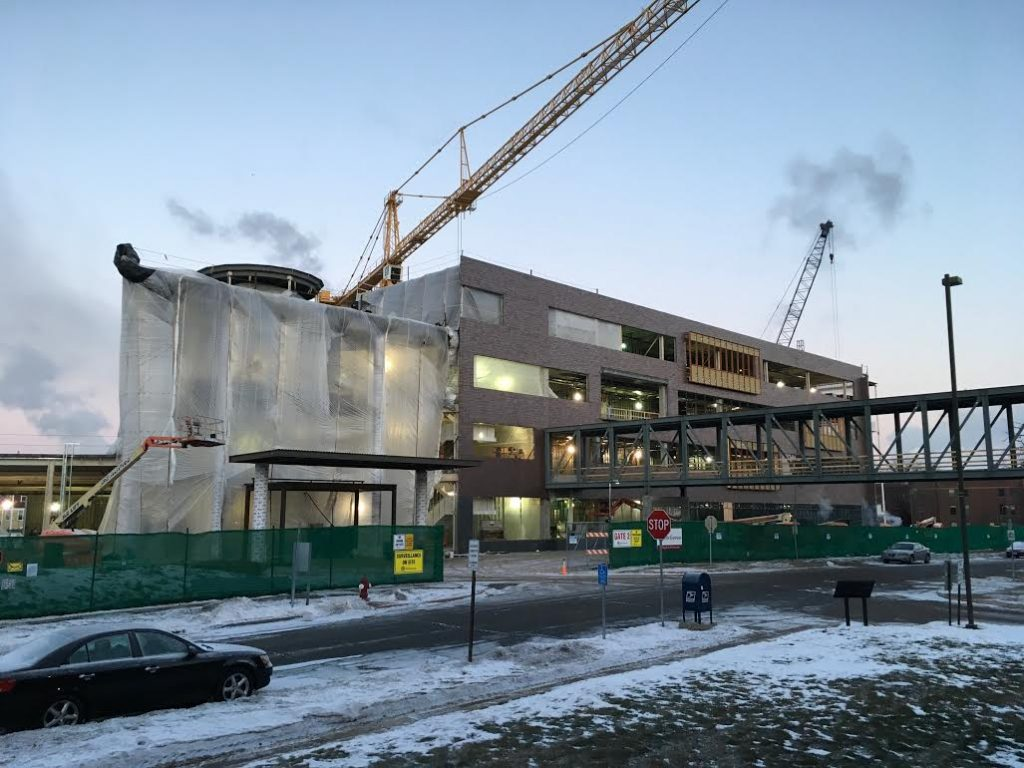 The main gate of Hagfors Center construction site, January 9, 2017.
