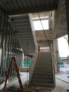 Construction of the stairwell in the main lobby is nearly complete.