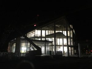 An external view of the Hagfors Center lobby area, pre-dawn