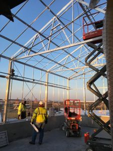 The rooftop greenhouse is taking shape, and boasts stunning views of Minneapolis.
