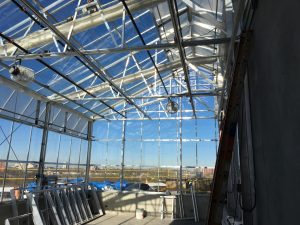 Fans and sunscreen shades have been installed in the rooftop greenhouse, which features some of the best views from the Hagfors Center!