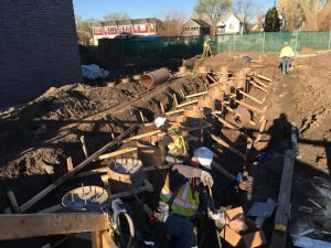Crews prepare the pier footings in the electrical yard.