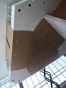 Elm wood lobby ceiling