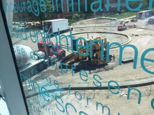 A view of the rotunda from inside the skyway. This photo also provides a glimpse of the artwork on the skyway glass.