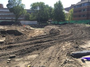 Excavation work on the storm water basin