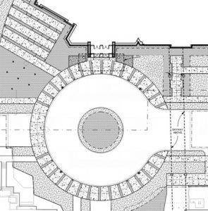 A drawing of the main entrance terrace and rotunda