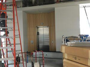 Second-floor lobby elevator doors.