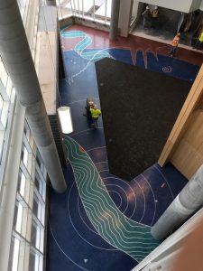 Birds-eye view of the lobby